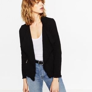 Zara tweed frayed open front blazer